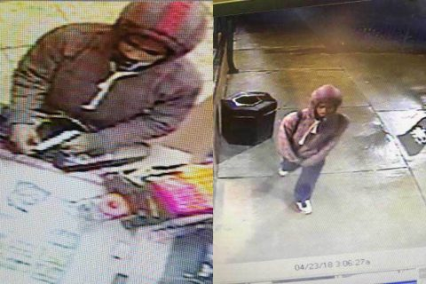 Clarksville Police are trying to identify the person in these photos for the Monday robbery of Speedy Cafe.