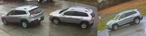 The suspect was seen entering this Jeep Cherokee at a few of the burglaries.