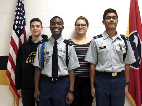 Kenwood High School JROTC Academic Team (L to R) Justin Bair, Orlando Moore, Alexis Jordan, and Phoenix Sims.