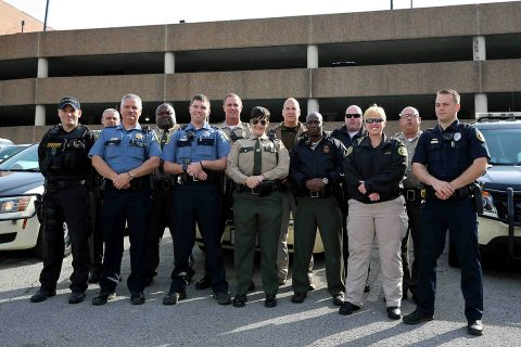 Law Enforcement Officers that took part in the Joint Distracted Driving Enforcement Operation in Clarksville on April 5th. (Doug Burgess)