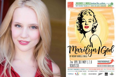"Quinn Tierney Vaira stars in the Roxy Regional Theatre's production of ""Marilyn/God"" in theotherspace, April 30th through May 8th."