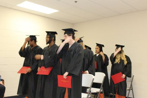 Jeremy Martin-Proctor, Dalton Lawrence, Cedric Laster, Tollie Thomas, Joseph Stewart, De'Norris Franklin, Britteny Mostella, Hanna Edwards, and Kiersten Napodano graduated from the Inmate High School Equivalency Program.