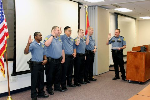 Richard Byers, Travis Roberts, Jeffrey Siu, Emmanuel Vaughn, and Daniel Williams sworn in by Montgomery County Sheriff John Fuson.
