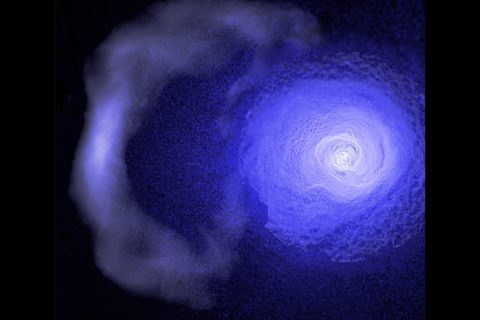 "A gigantic and resilient ""cold front"" hurtling through the Perseus galaxy cluster has been studied using data from NASA's Chandra X-ray Observatory. (NASA/CXC/GSFC/S. Walker, ESA/XMM, ROSAT)"