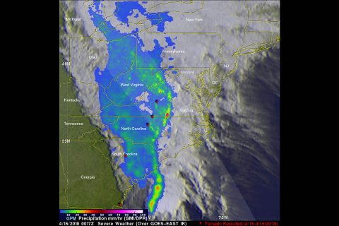GPM captured an image of the advancing line of storms on April 16 at 00:17 UTC (8:17 pm EDT, April 15). GPM showed a narrow leading line of thunderstorms producing heavy rain rates (orange and red areas), followed by a much broader area of light to moderate rain (blue and lighter green areas). (NASA/JAXA, Hal Pierce)