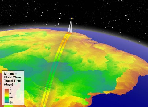 Artist's illustration of NASA's planned Surface Water and Ocean Topography (SWOT) satellite over the Amazon basin. The colors depict estimated minimum times for flood waves to travel downstream and reach the ocean, data that can inform requirements of satellites like SWOT that can detect floods. (NASA/JPL-Caltech)