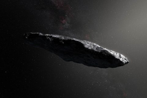 An illustration of 'Oumuamua, the first object we've ever seen pass through our own solar system that has interstellar origins. (European Southern Observatory/M. Kornmesser)