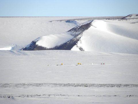 Camp at Mount Raymond in the Transantarctic Mountains. (Barbara Cohen)