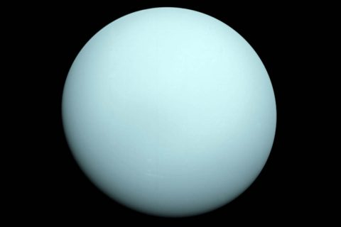 Arriving at Uranus in 1986, Voyager 2 observed a bluish orb with extremely subtle features. A haze layer hid most of the planet's cloud features from view. (NASA/JPL-Caltech)