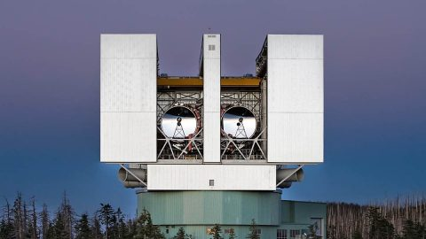 The Large Binocular Telescope Interferometer, or LBTI, is a ground-based instrument connecting two 8-meter class telescopes on Mount Graham in Arizona to form the largest single-mount telescope in the world. The interferometer is designed to detect and study stars and planets outside our solar system. (NASA/JPL-Caltech)