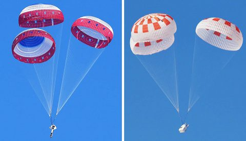 At left, Boeing conducted the first in a series of parachute reliability tests its Starliner flight drogue and main parachute system Feb. 22, 2018, over Yuma Arizona. (NASA)  At right, SpaceX performed its fourteenth overall parachute test supporting Crew Dragon development March 4, 2018, over the Mojave Desert in Southern California. The test demonstrated an off-nominal, or abnormal, situation, deploying only one of the two drogue chutes and three of the four main parachutes. (SpaceX)