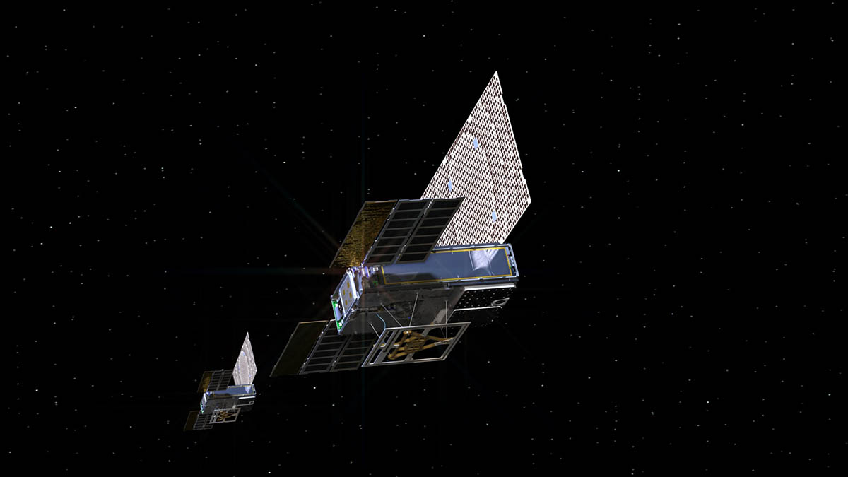 An artist's rendering of the twin Mars Cube One (MarCO) spacecraft as they fly through deep space. The MarCOs will be the first CubeSats -- a kind of modular, mini-satellite -- attempting to fly to another planet. (NASA/JPL-Caltech)