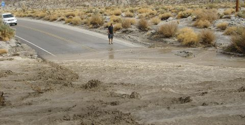Monsoon rains flood Highway 78 just south of Borrego Springs in San Diego County in late July 2013. (National Oceanic and Atmospheric Administration)