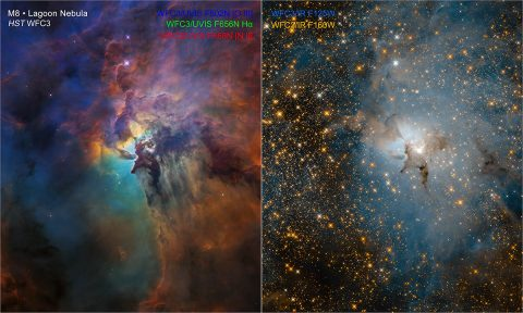 These NASA Hubble Space Telescope images compare two diverse views of the roiling heart of a vast stellar nursery, known as the Lagoon Nebula. The images, one taken in visible and the other in infrared light, celebrate Hubble's 28th anniversary in space. (NASA, ESA, and STScI)