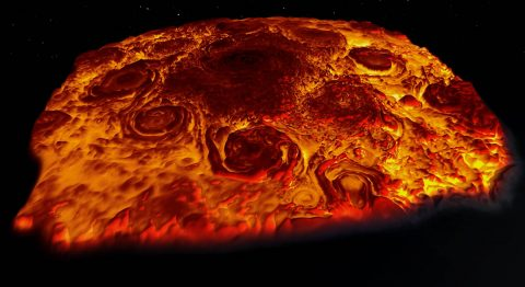 This infrared 3-D image of Jupiter's north pole was derived from data collected by the Jovian Infrared Auroral Mapper (JIRAM) instrument aboard NASA's Juno spacecraft. (NASA/JPL-Caltech/SwRI/ASI/INAF/JIRAM)