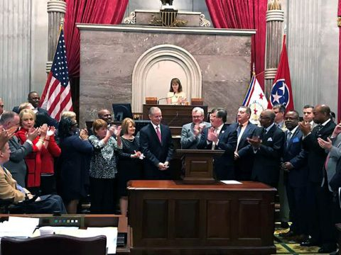 Tennessee State Representative Joe Pitts being honored in the Tennessee House of Representatives for his twelve years of service.