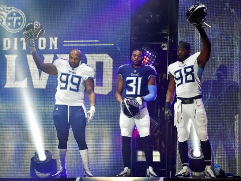 Tennessee Titans defensive tackle Jurrell Casey (99), safety Kevin Byard (31), linebacker Brian Orakpo (98), show off their new uniforms during the Titans uniform reveal event held at Broadway and 1st Avenue. ( Andrew Nelles / The Tennessean Appeal via USA TODAY NETWORK)