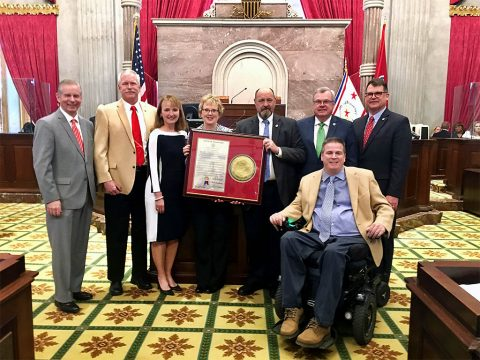 (L to R) State Rep Joe Pitts (APSU Alum), Barry Kulback, (Maggie's husband), Speaker Beth Harwell, Maggie Kulback, Rep Ron Lollar, Speaker Pro Tem Curtis Johnson (APSU Alum), State Rep Jay Reedy (APSU Alum) and State Rep Darren Jernigan (APSU Alum).