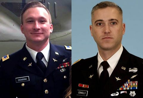 (L) Warrant Officer James Casadona and (R) Chief Warrant Officer 3 Ryan Connolly were killed in an Apache Helicopter Training Accident at Fort Campbell, Friday.