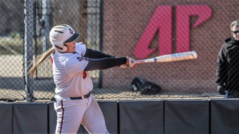 Austin Peay Softball junior Danielle Liermann hits her 15th home run of the season in Game 1 against UT Martin, Sunday. (APSU Sports Information)
