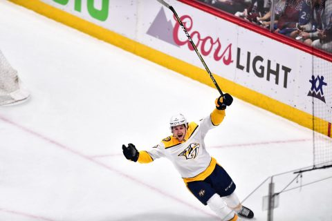 Apr 18, 2018; Denver, CO, USA; Nashville Predators left wing Filip Forsberg (9) reacts after scoring against the Colorado Avalanche during the first period in game four of the first round of the 2018 Stanley Cup Playoffs at Pepsi Center. Mandatory Credit: Ron Chenoy-USA TODAY Sports