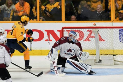 Colorado Avalanche goalie Jonathan Bernier (45) allows a goal to Nashville Predators left wing Filip Forsberg (9) during the third period in game one of the first round of the 2018 Stanley Cup Playoffs at Bridgestone Arena. (Christopher Hanewinckel-USA TODAY Sports)