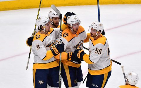 Nashville Predators center Ryan Johansen (92) celebrates his goal with Nashville Predators left wing Filip Forsberg (9) and center Nick Bonino (13) and defenseman Roman Josi (59) in the second period against the Colorado Avalanche of game three of the first round of the 2018 Stanley Cup Playoffs at Pepsi Center. (Ron Chenoy-USA TODAY Sports)