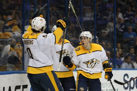 Nashville Predators left wing Filip Forsberg (9) is congratulated by center Kyle Turris (8) and teammates as he scores a goal against the Tampa Bay Lightning during the second period at Amalie Arena. (Kim Klement-USA TODAY Sports)
