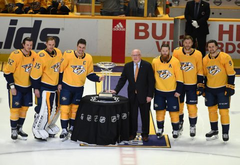 (From left to right) Nashville Predators center Ryan Johansen (92) goalie Pekka Rinne (35) defenseman Roman Josi (59) defenseman Ryan Ellis (4) defenseman Mattias Ekholm (14) and left wing Filip Forsberg (9) pose with NHL deputy commissioner Bill Daly as the Nashville Predators are awarded the Presidents' Trophy before the game against the Columbus Blue Jackets at Bridgestone Arena. (Christopher Hanewinckel-USA TODAY Sport)