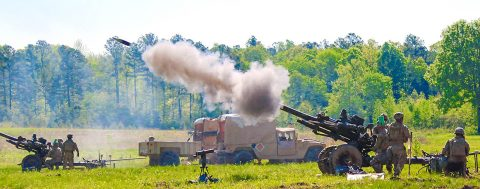 Soldiers of Bravo Battery, 3rd Battalion, 320th Field Artillery Regiment, 101st Airborne Division Artillery Brigade, 101st Airborne Division, fire a M119A3 Howitzer during the unit's Table XV gunnery on Fort Campbell, Kentucky. (Sgt. Steven Lopez, 40th Public Affairs Detachment)