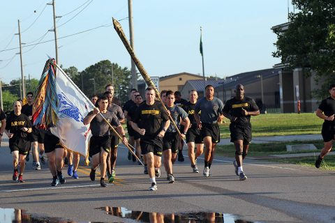 Brig. Gen. Kenneth T. Royar and Command Sgt. Maj. James L. Manning lead soldiers from 101st Airborne Division in a 4 mile division run for Week of the Eagles, May. 24 on Fort Campbell, Ky. Week of the Eagles was a tradition started in 1973 as an effort to reinvigorate the sense of community and is still carried on today to also honor those who served. (Sgt. Sharifa Newton, 40th Public Affairs Detachment)