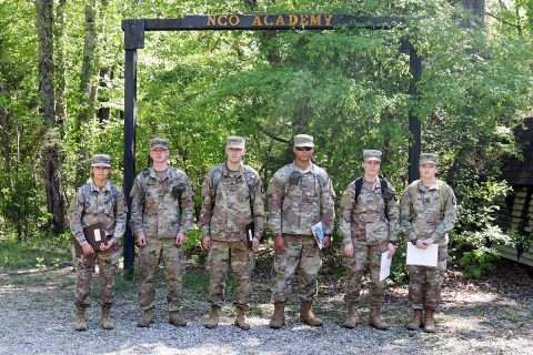 Combat medics from Headquarters and Headquarters Battery and 1-320th Field Artillery, 101st Division Artillery, 101st Airborne Division (Air Assault) prepare themselves to embark on a three-hour, five-point land navigation training, May 8th, 2018, Fort Campbell, KY. (Pfc. Beverly Roxane Mejia, 40th Public Affairs Detachment)