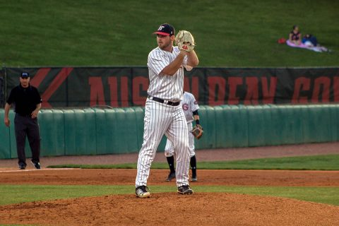 Austin Peay Baseball pitcher Josh Rye holds Western Kentucky scoreless for six innings in 6-0 Govs win Tuesday night. (APSU Sports Information)