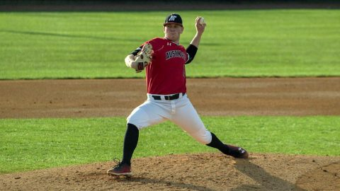 Austin Peay Baseball pitcher Jacques Pucheu strikes out 10 batters in loss to Clemson, Saturday. (APSU Sports Information)