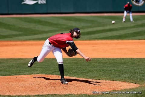 Austin Peay pitcher Brandon Vial throws five scoreless innings in Sunday afternoon loss to Clemson. (APSU Sports Information)