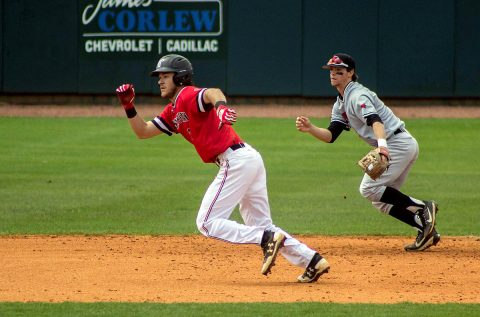 Austin Peay Baseball second baseman Garrett Giovannelli goes 4 for 5 in loss to Jacksonville State, Wednesday. (APSU Sports Information)