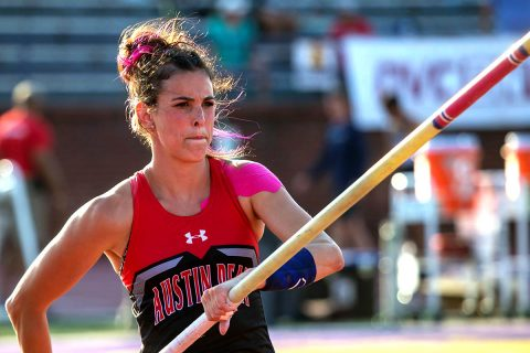 Austin Peay Track and Field junior Savannah Amato wins gold in the pole vault at the OVC Championship. (APSU Sports Information)