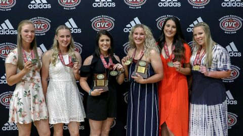 Austin Peay Softball's (L to R) Natalie Schilling, Kacy Acree, Bailey Shorter, Morgan Rackel, Kelly Mardones, and Danielle Liermann receive OVC All Conference Honors. (APSU Sports Information)