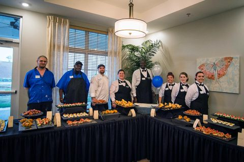 Appetizers and drinks were served at Arcadia Senior Living 's Grand Opening.