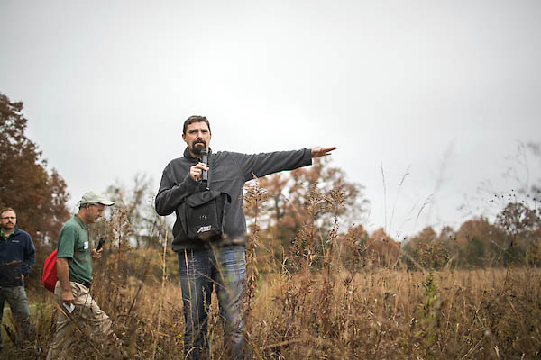 Austin Peay State University Professor of Biology, Dr. Dwayne Estes, leads a tour through Baker Prairie Natural Area.