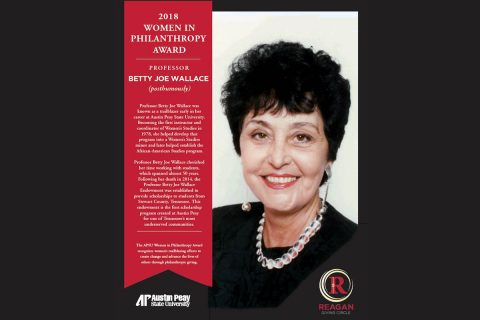 Late Austin Peay professor Betty Joe Wallace honored with 2018 Women in Philanthropy Award.