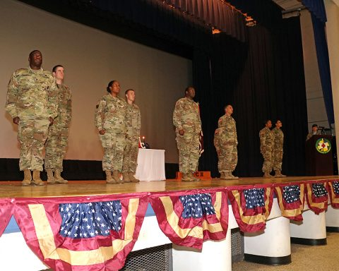 Fort Campbell non-commissioned officers and their Soldiers participated in a Sergeant Audie Murphy Club Induction Ceremony at Wilson Theater May 10. Named for Medal of Honor recipient Audie Murphy, SAMC is a professional organization of NCOs who exemplify Army leadership. During the ceremony, inductees Sgt. 1st Class Ivan Tanna, Staff Sgt. Shaneka Brown, Staff Sgt. Cory Hudson, Staff Sgt. Eric Serrano, all from Blanchfield, and 3rd Battalion, 320th Field Artillery Regiment, 101st Airborne Division Artillery Brigade's Staff Sgt. Tamika Wilcox of received the coveted SAMC medallion. (U.S. Army photo by Maria Yager)