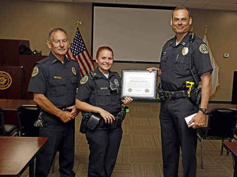 Clarksville Police Officer Samantha Kellett being presented with a Lifesaver Award.