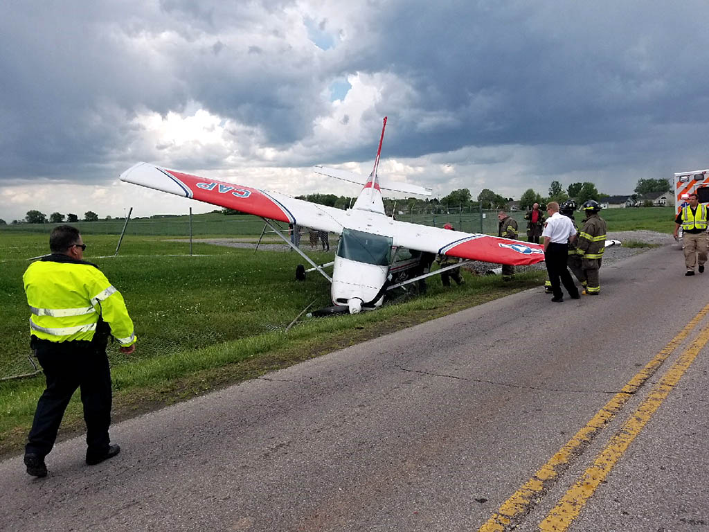 According to Clarksville Police, an Aircraft landed at Clarksville Regional Airport Sunday afternoon and then crashed through the perimeter fence.