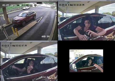 Clarksville Police are looking for the person in these photos in connection to two vehicle burglaries and fraud.