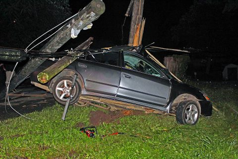Clarksville Police were dispatched to vehicle accident on Oak Street Saturday were the vehicle left the road and struck a utility pole. One person was killed. (Officer Atkins, Clarksville Police Department)