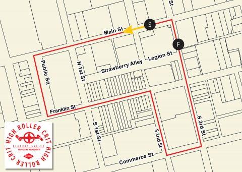 Clarksville's High Roller Crit Race Map
