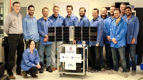 The CubeRRT satellite and Blue Canyon Technologies team members with Principal Investigator Joel Johnson (far left) of The Ohio State University. (Blue Canyon Technologies)