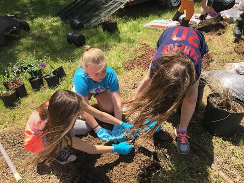 These Girl Scouts from Troop 390 plant native plants and grasses April 28, 2018 that will become an Ecological Landscape Exhibit for visitors to Cheatham Lake in Ashland City, Tenn. (UTrey Church)