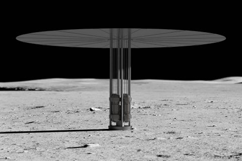 Artist's concept of new fission power system on the lunar surface. (NASA)